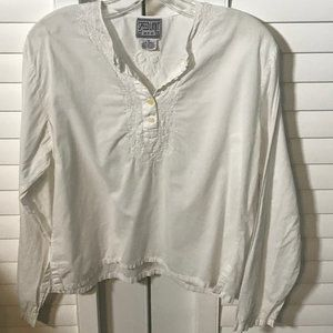 Speed Limit white cotton blouse w/embroidery M